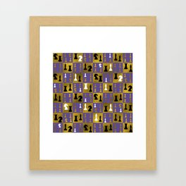 Violet Chessboard and Chess Pieces pattern Framed Art Print