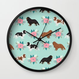 Cavalier King Charles Spaniel florals cute gift for dog lover custom pet portrait pet friendly dog Wall Clock