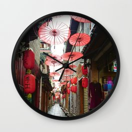 Asia in Red Wall Clock