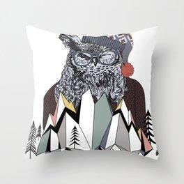 Vintage Retro Christmas Winter Snowy Winking Owl Throw Pillow