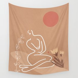 Woman in Nature Illustration Wall Tapestry