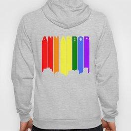 Ann Arbor Michigan Gay Pride Rainbow Skyline Hoody