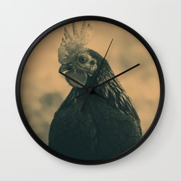 Rooster in Sepia Wall Clock