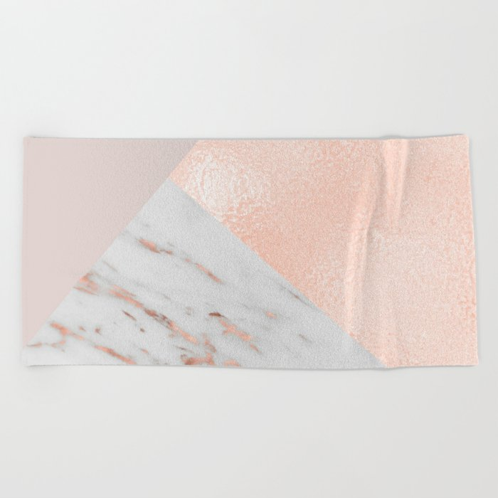 Blush pink layers of rose gold and marble Beach Towel