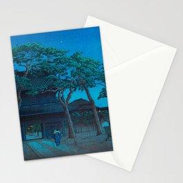 Vintage Japanese Woodblock Print Japanese Nara Park At Night Stationery Cards