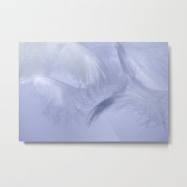 White fluffy feathers blue tone Metal Print