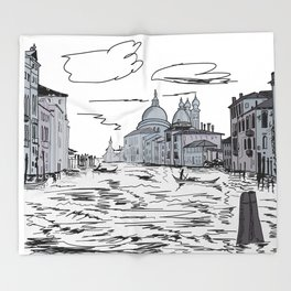 Venice City on the Water . Home Decor, Graphic Design Throw Blanket