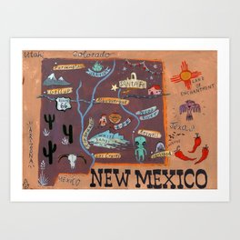 New Mexico map Art Print
