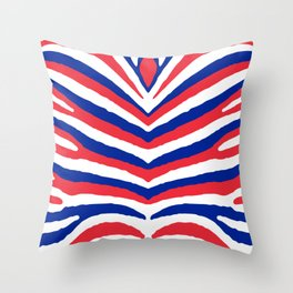 Red White and Blue French Flag Zebra Animal Stripes Throw Pillow