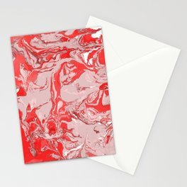 Red and white Marble texture acrylic Liquid paint art Stationery Cards
