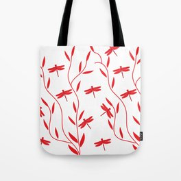 Drawing Vector Nature Red Dragonfly Tote Bag