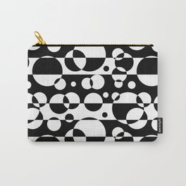 Black White Geometric Circle Abstract Modern Print Carry-All Pouch