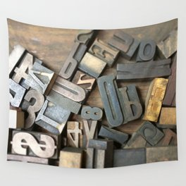Vintage Wooden Letter Press Letters Wall Tapestry