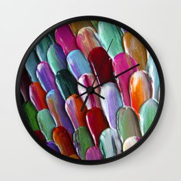 Turquoise, teal, emeral green and hot pink and terracotta - Abstract #31/ fragment Wall Clock