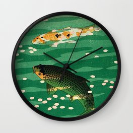 Vintage Japanese Woodblock Print Asian Art Koi Pond Fish Turquoise Green Water Cherry Blossom Wall Clock