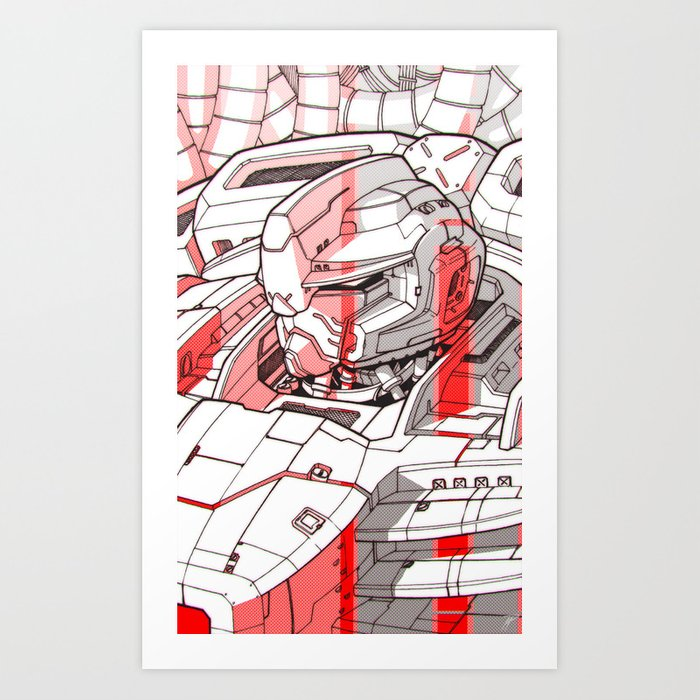 Red Mecha Art Print