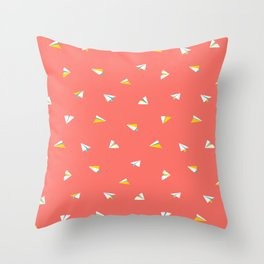 Cute white paper planes flying on coral red background. Throw Pillow