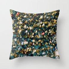 Paris Love Locks Throw Pillow