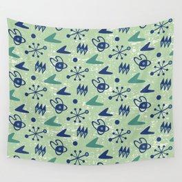 Mid Century Modern Atomic Boomerang Pattern Green Blue 105 Wall Tapestry