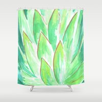 succulent Shower Curtains featuring Succulent by Hello Monday