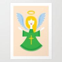 angel Art Prints featuring Angel by Wharton