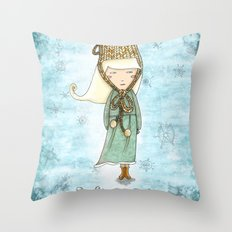 White Tea Girl Throw Pillow