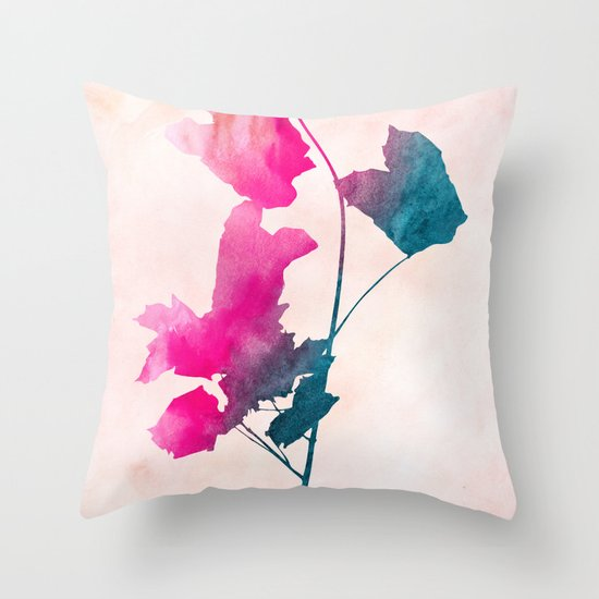 Maple_Watercolor 1 by Jacqueline & Garima Throw Pillow