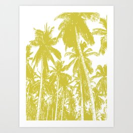 Palm Trees Design in Gold and White Art Print