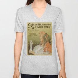 Art nouveau 1897 Artistic Club of Schaerbeek by Privat-Livemont Unisex V-Neck
