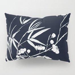 bamboo and plum flower white on black Pillow Sham