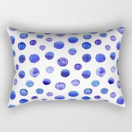 Blue polka dot watercolor pattern Rectangular Pillow