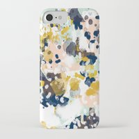 navy iPhone & iPod Cases featuring Sloane - Abstract painting in modern fresh colors navy, mint, blush, cream, white, and gold by CharlotteWinter