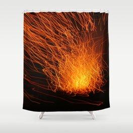 Golden Firework Shower Curtain