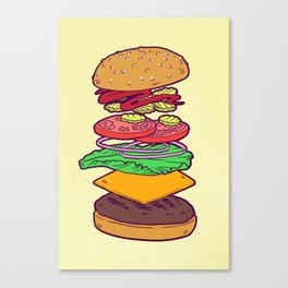 Vegan Burger Anatomy (No Words) Canvas Print