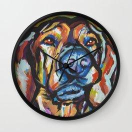 Fun Plott Hound Dog Portrait bright colorful Pop Art Wall Clock