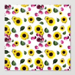 Cute Sunflower and Roses Floral Pattern Canvas Print