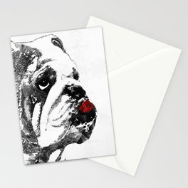 Bulldog Pop Art - How Bout A Kiss 2 - By Sharon Cummings Stationery Cards