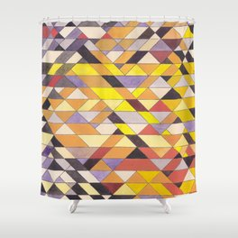 Triangle Pattern No.8 Black and Yellow Shower Curtain