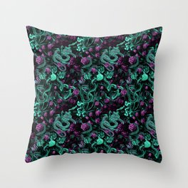Floral and Snake Night Throw Pillow