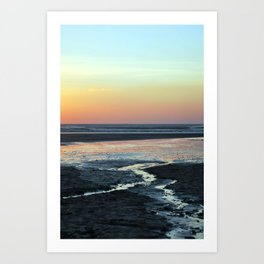 sunset over beach Art Print