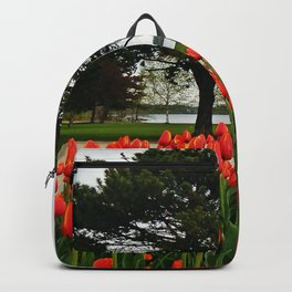 Tulips and the Trees by the Lake Backpack