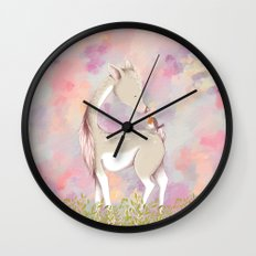 Baby Deer With Bird Watercolor Painting Wall Clock