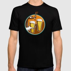 Beer Pint Glass Hand Tap Retro Black Mens Fitted Tee 2X-LARGE