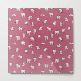Indian Baby Elephants in Pink Metal Print