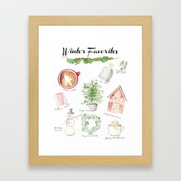 Winter Favorites in Watercolor Framed Art Print