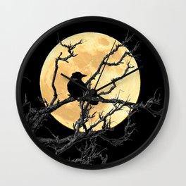 Crow Against Full Moon A366 Wall Clock
