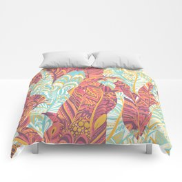 Modern abstract pink teal yellow hand painted bohemian feathers Comforters