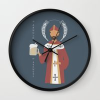 arnold Wall Clocks featuring St. Arnold of Brewers by Sarah Duet