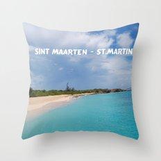 Tropical sandy beach of Sint Maarten - St. Martin Throw Pillow