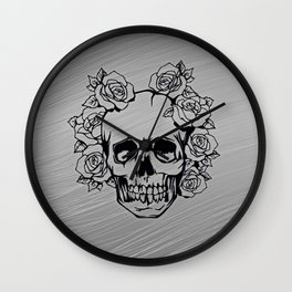Skull with roses, silver Wall Clock